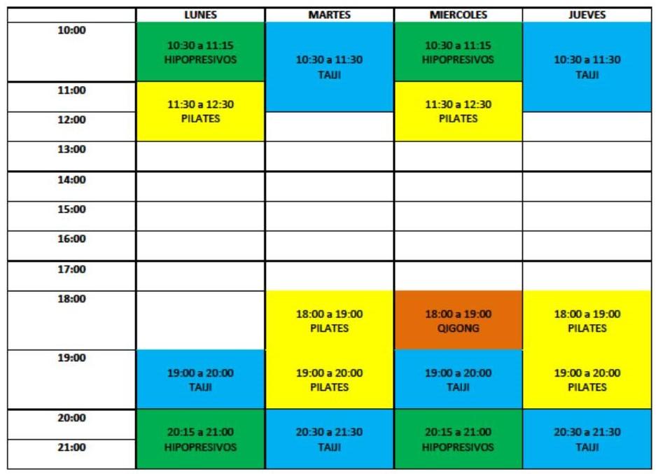 imagen horario actividades