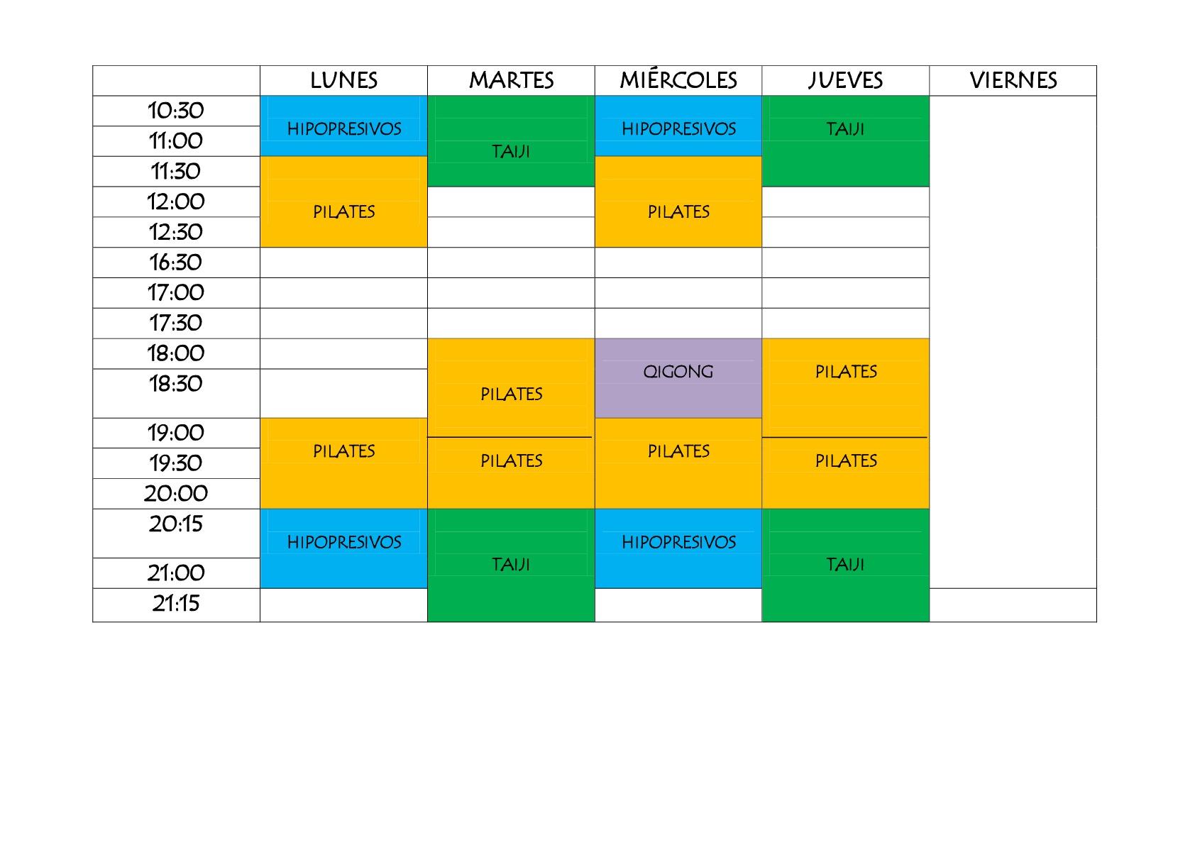 Nuevos horarios de actividades grupales para este curso