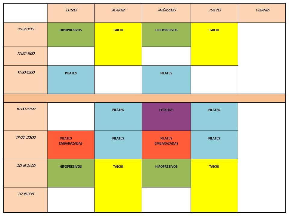 horario actividades grupales 2019